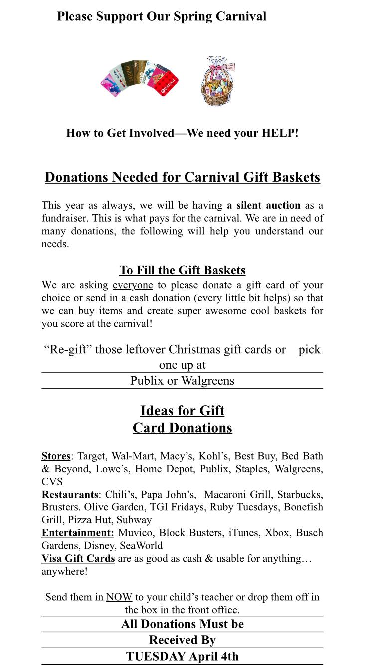 Carnival Gift Baskets – HELP NEEDED